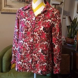 Allison Taylor Petie Silk Long Sleeve paisley sz S